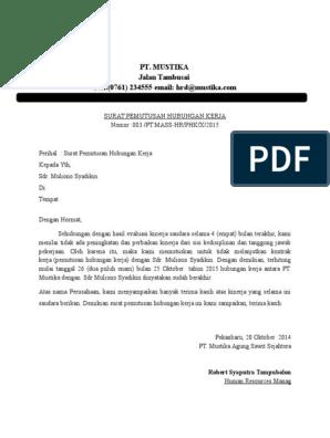 Contoh Surat Pemberhentian Pekerja Oleh Majikan