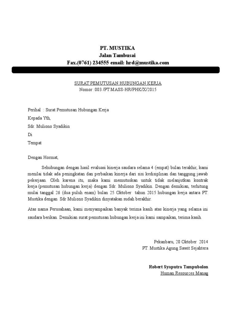 Surat Rasmi Diberhentikan Kerja Oleh Majikan Kecemasan E