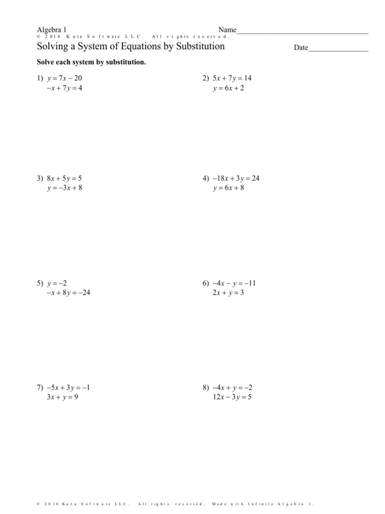 solving a system of equations by substitution worksheet special cases – Solving Systems of Equations Substitution Worksheet