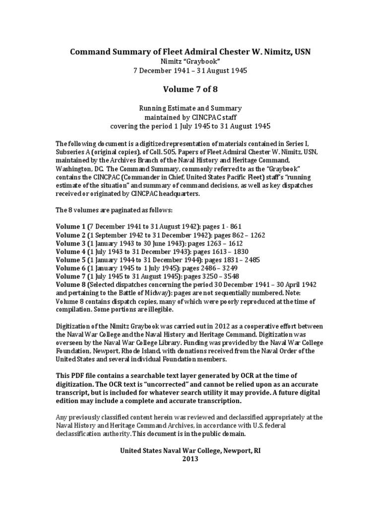command summary of fleet admiral chester w nimitz volume 7 rh scribd com