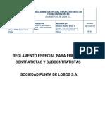 Reglamento Especial Contratista y Subcontratistas SPL