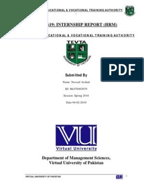 Human Resource Management Internship Report Virtual University of