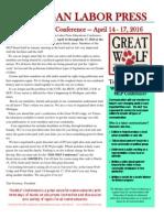 Michigan Labor Press Spring Conference April 14-17, 2016