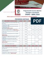 Programación Oficial Bureau Veritas Cursos Abiertos Santiago y Concepción ENERO - ABRIL 2016 Rev4 (1)