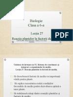 Reacția Plantelor La Factorii de Mediu.