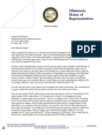 House DFL Leader Thissen letter to Speaker Daudt, 3/7/16