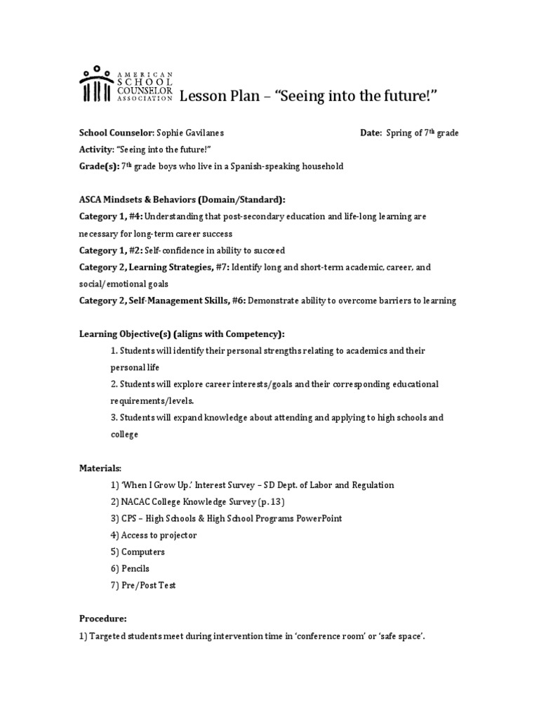 Ctg College Lesson Plan Final School Counselor Secondary School