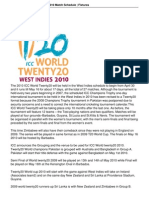 t20 World Cup 2010 Schedule