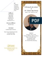 Clarence Harvey Funeral Program