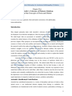 Aristotle Criticism Platos Matter and Form