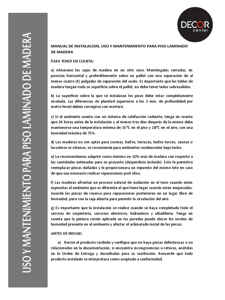 Manual De Instalacion Uso Y Mantenimiento Para Piso Laminado