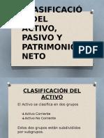 Clasificación Del Activo, Pasivo y Patrimonio Neto