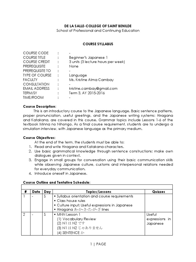Elementary Japanese 1 3hr Course Syllabus Japanese Language Quiz