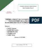 L'impact de la hausse des taux d'intérêt de la FED sur l'économie américaine et sur les économies d'Afrique centrale