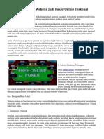 Teknik Menyeleksi Website Judi Poker Online Terkenal