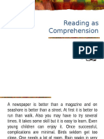 Reading as Comprehension