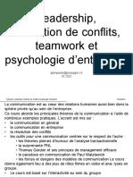 Cours de Communication - Psychologie - Team - Conflits - PNL - At