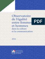 Rapport 2016 de l'Observatoire de l'Égalité entre les femmes et les hommes dans la culture et la communication