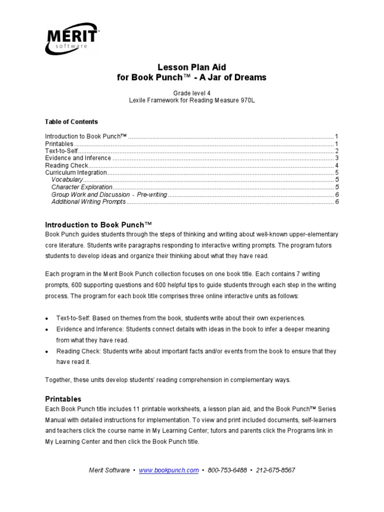 Workbooks inference worksheets 3rd grade : A Jar of Dreams Lesson Plan | Lesson Plan | Reading Comprehension