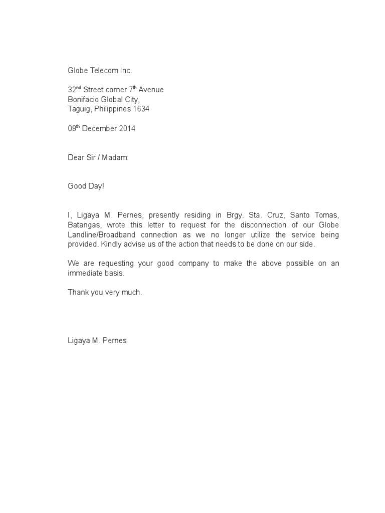 termination letter globe