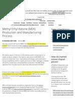 Methyl Ethyl Ketone (MEK) Production and Manufacturing Process