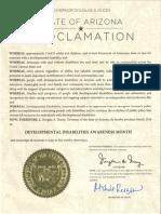 2016 Arizona Developmental Disabilities Awareness Month Proclamation