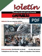 Boletin Frente Sindical León Duarte Febrero - Marzo/2016
