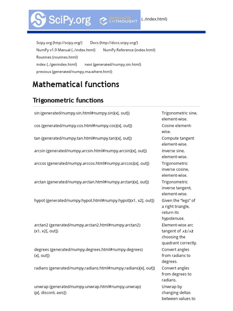 Mathematical Functions — NumPy v1   Trigonometric Functions   Sine