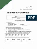 2011 HSC Half Yearly Mathematics Extension 1