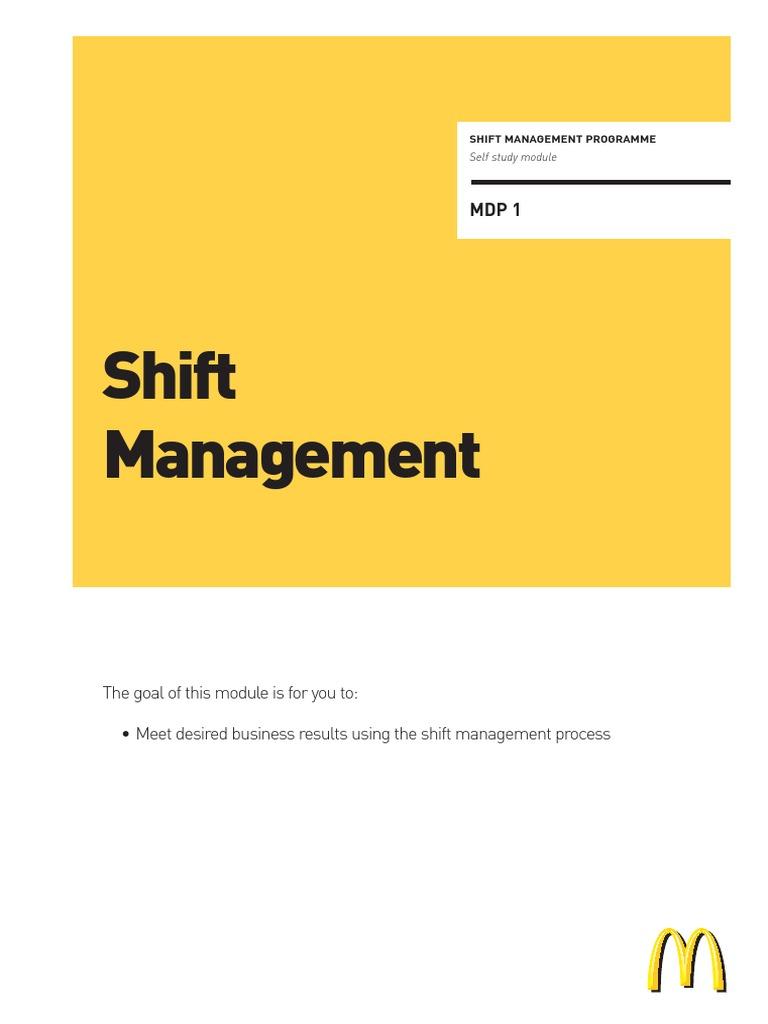 mcdonalds shift management mc donald s employment rh scribd com McDonald's Training Manual McDonald's International Operations