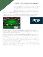 Teknik Memprediksi Kartu Lawan Saat Main Poker Online
