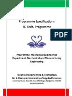 B Tech Programme Specifications ME