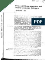 Goh C 1997 Metacognitive Awareness and Second Language