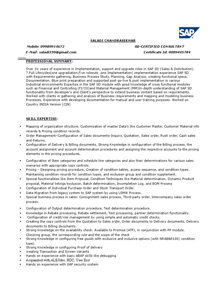 Sap Mm Consultant Resumes   Fieldstation.co  Sap Mm Resume