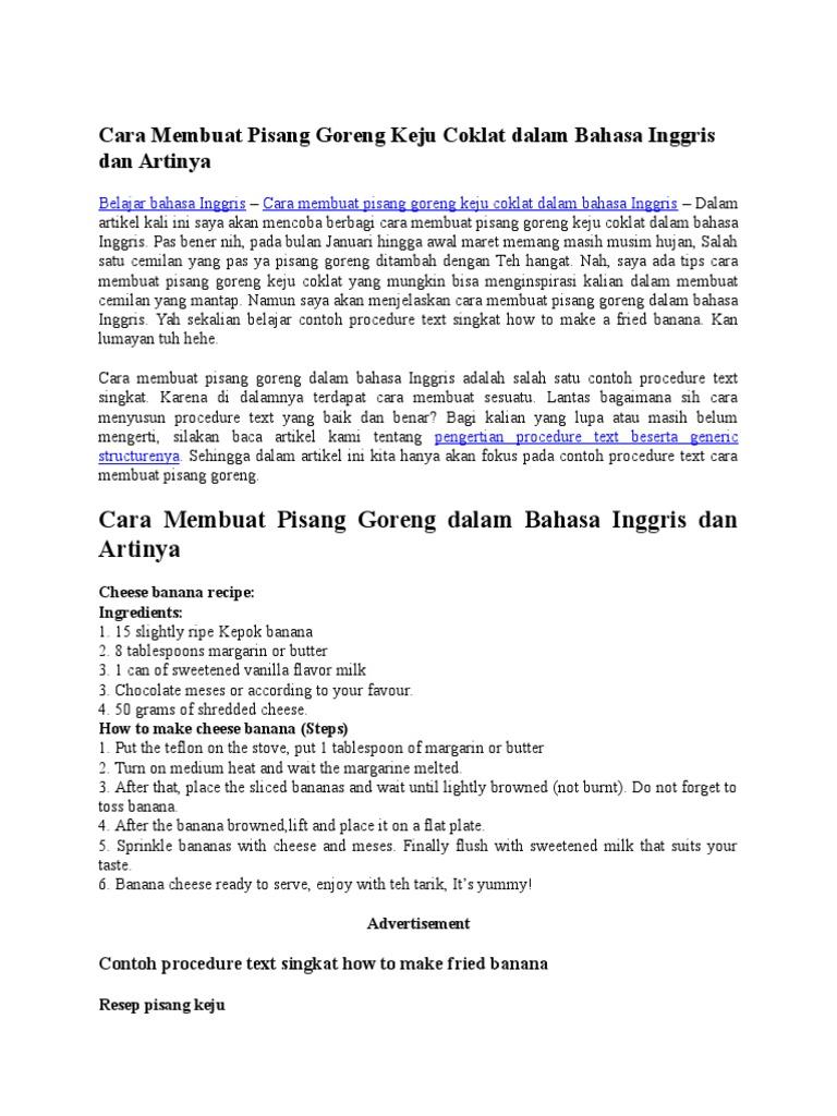Cara Membuat Pisang Goreng Keju Coklat Dalam Bahasa Inggris Dan