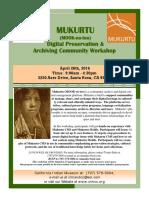 MUKURTU  Digital Preservation &  Archiving Community Workshop
