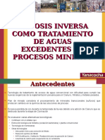 Osmosis Inversa Como Tratamiento de Aguas Exedentes de Procesos Mineros