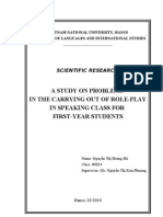 A Study on Problems in the Carrying Out of Role-play in Speaking Class for First-year Students