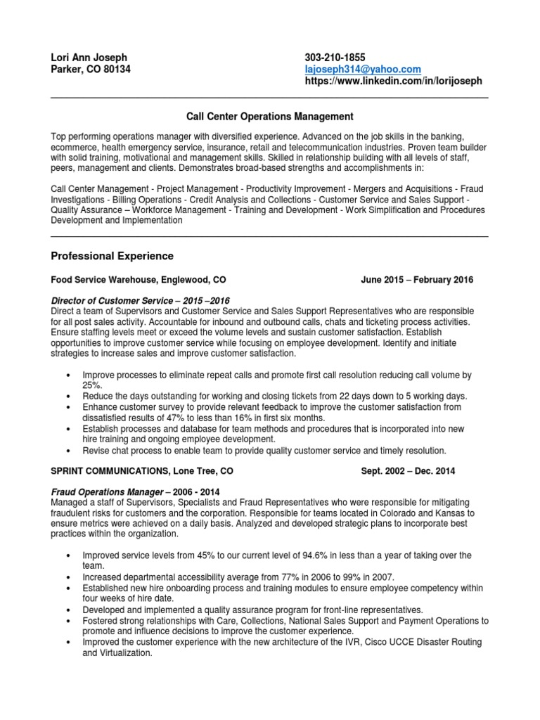 call center technical support resume