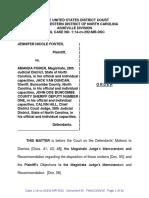 Order Granting Motions to Dismiss, Foster v. Fisher et. al., 14 CV 292 (W.D.N.C 2016)
