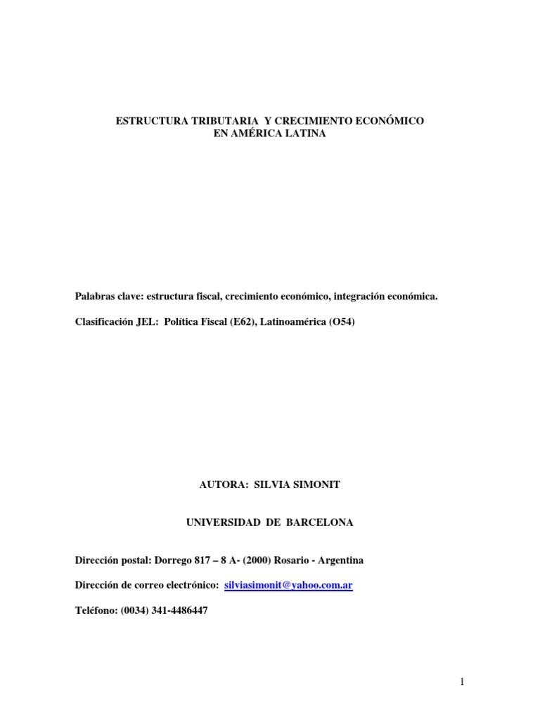 Estructura Tributaria Y Crecimiento En America Latina