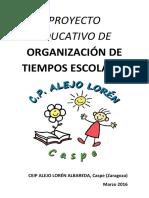 PROYECTO EDUCATIVO TIEMPOS ESCOLARES CEIP ALEJO LORÉN