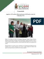 2015-03-28 Agradece el Presidente Municipal apoyo del Estado a través de Chihuahua Vive