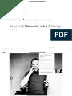 La Carta de Bukowski Contra El Trabajo