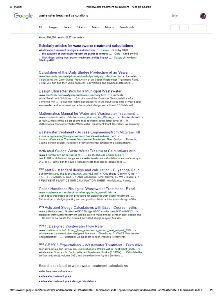 Wastewater Treatment Calculations - Google Search   Wastewater
