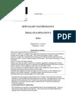 2014 Specialist Maths Exam 2