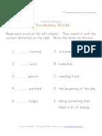 First Grade Vocabulary Worksheet Defninition1