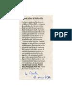 Le Monde 11 mars 2016 La Barricade renversée