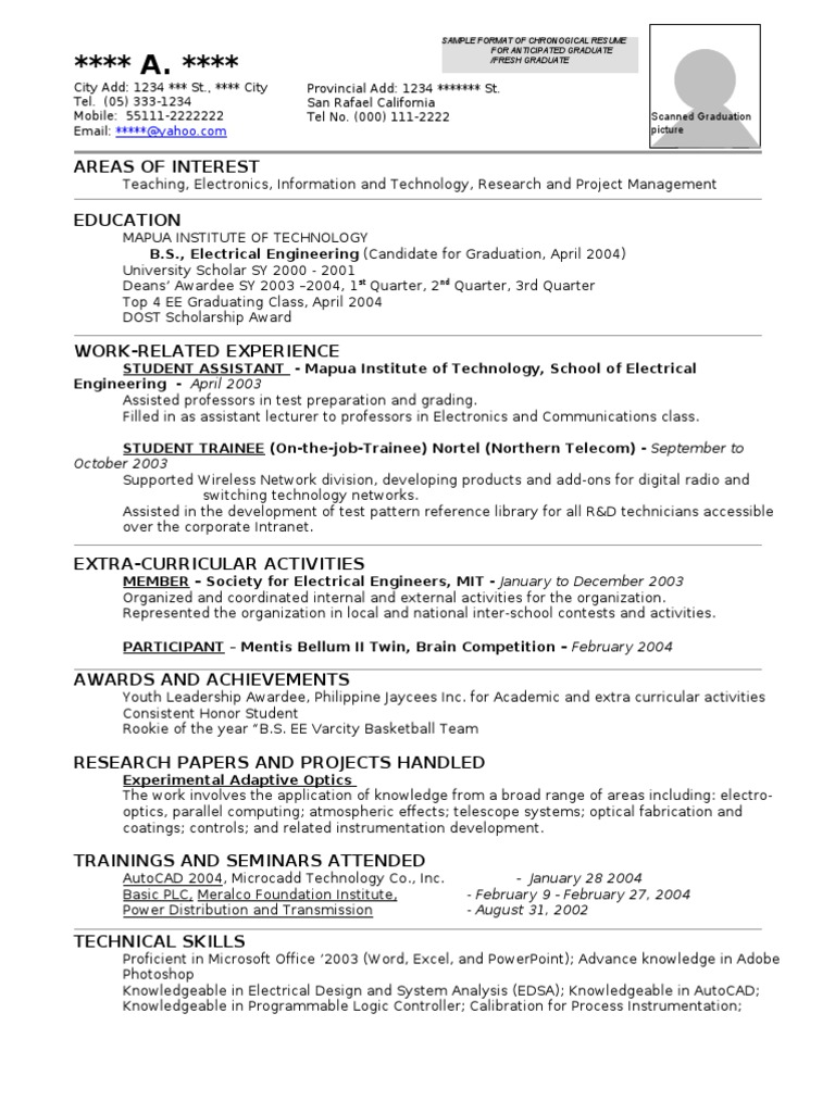 Resume Format Sample Electrical Engineering Science And Technology