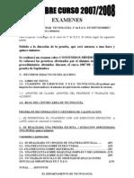 SEPTIEMBRE CURSO 2007-08  EXAMENES